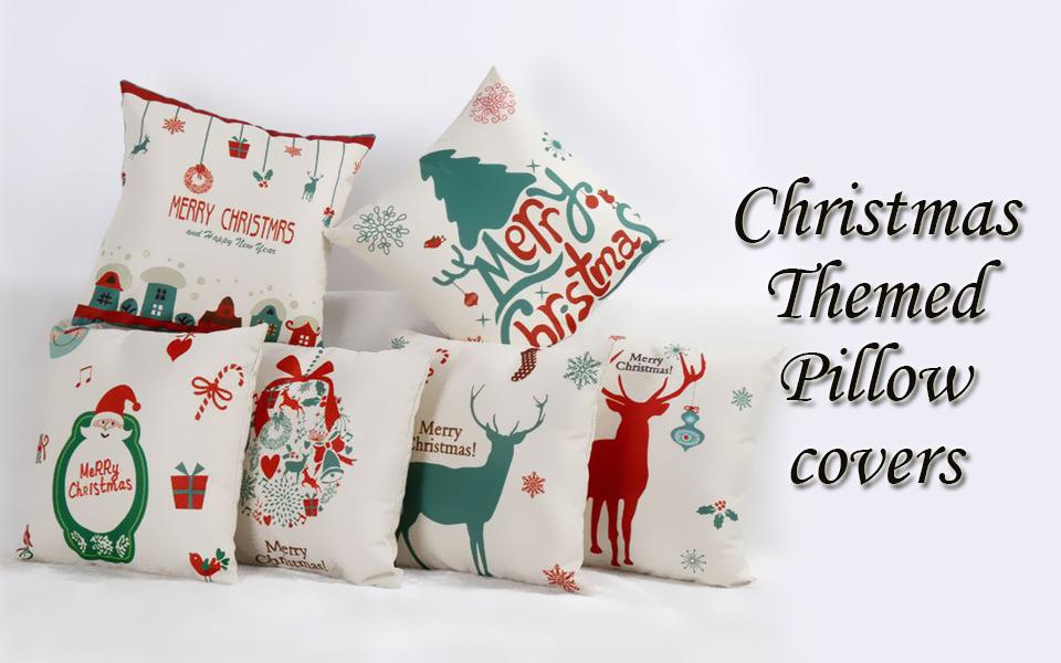 amazon com set of 6 christmas theme throw pillow covers square