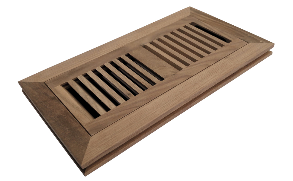 Homewell Walnut Wood Floor Register Flush Mount Floor Vent Cover 4x10 Inch With Damper Unfinished Home Improvement