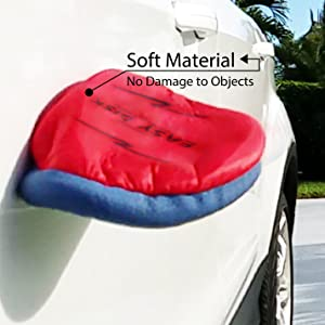 Frisbee hitting the side of a car but not damaging it because of its soft cloth nylon material