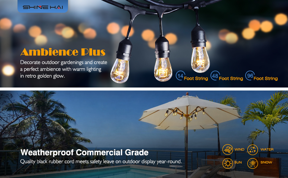 SHINE HAI 48-Foot with 24 Hanging Sockets Weatherproof Outdoor String Lights - Commercial Grade ...