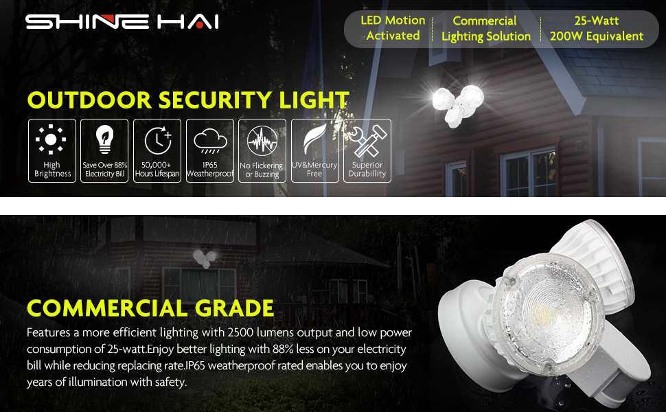 Shine hai led security light 2500lm 25w 200w equivalent outdoor shine hai led security light series aloadofball Image collections