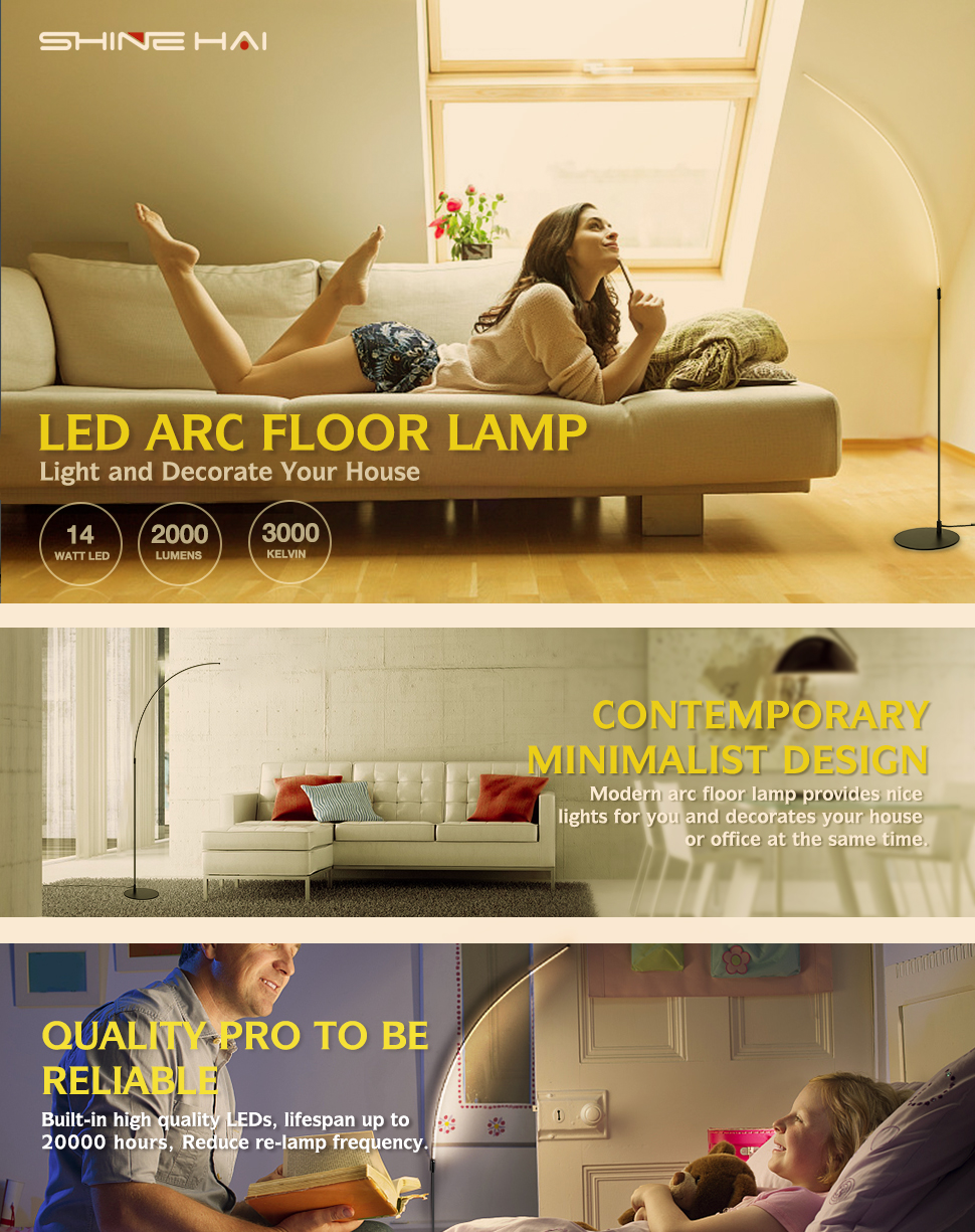 Not Dimmable Curved LED Floor Lamp