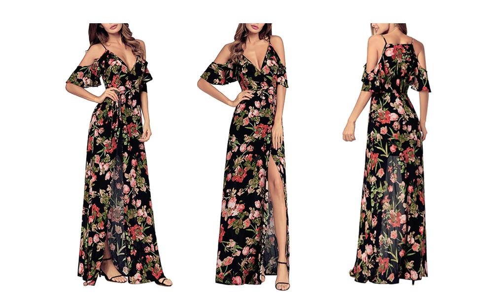 d079e8243a8d SHIBEVER Women's Summer Floral Maxi Dress Bohemian High Slit Cold Shoulder  Wrap Long Dresses