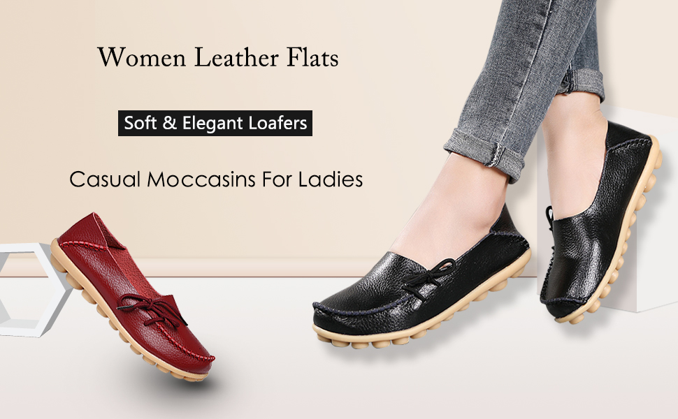 18b2042d806 Women s Leather Loafers Moccasins Wild Driving Casual Flats Oxfords  Breathable Shoes