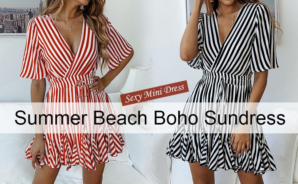 Plus Size Womens Ruffle V Neck Striped Ladies Summer Beach Party Midi Wrap Dress