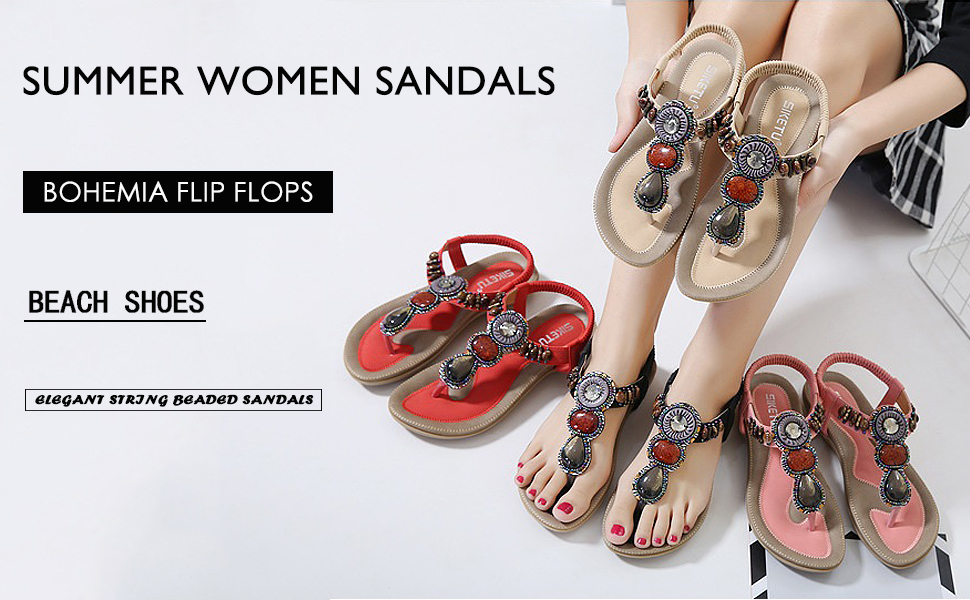 42af4f20a SHIBEVER Women Sandals Flip Flops Summer Beach Shoes Bohemian Flat Platform  Comfortable Gladiator Beaded Rhinestone Beach Sexy Sandals For Women