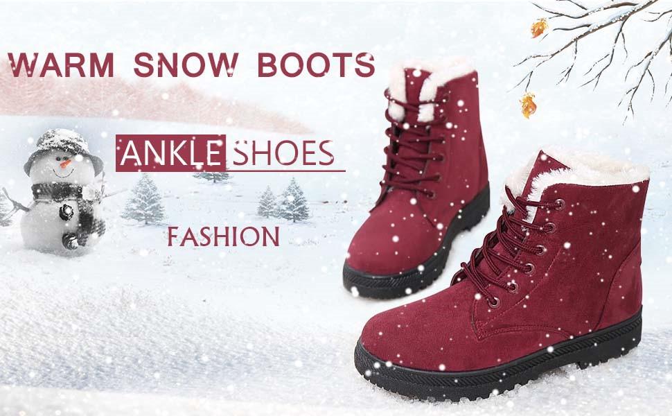 ef56e60d73f8b SHIBEVER Winter Boots for Women Platform Cotton Warm Fur Snow Ankle Boot  Lace Up Flat Booties Cute Plus Size Women Winter Snow Warm Boots Shoes