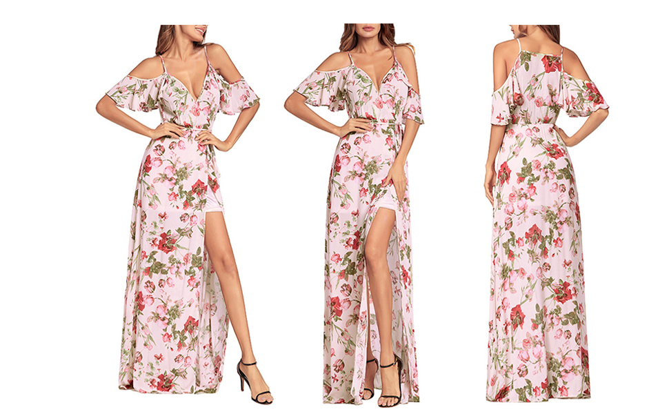 7f9784a4a7267 SHIBEVER Women's Summer Floral Maxi Dress Bohemian High Slit Cold Shoulder  Wrap Long Dresses
