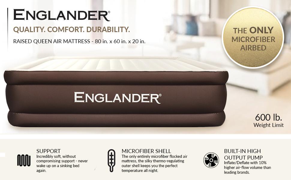 englander microfiber airbed built in pump inflatable air mattress