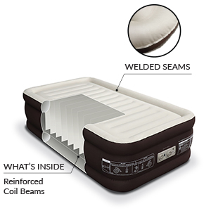 englander air bed brown raised twin comfort coil technology interior coil beam construction