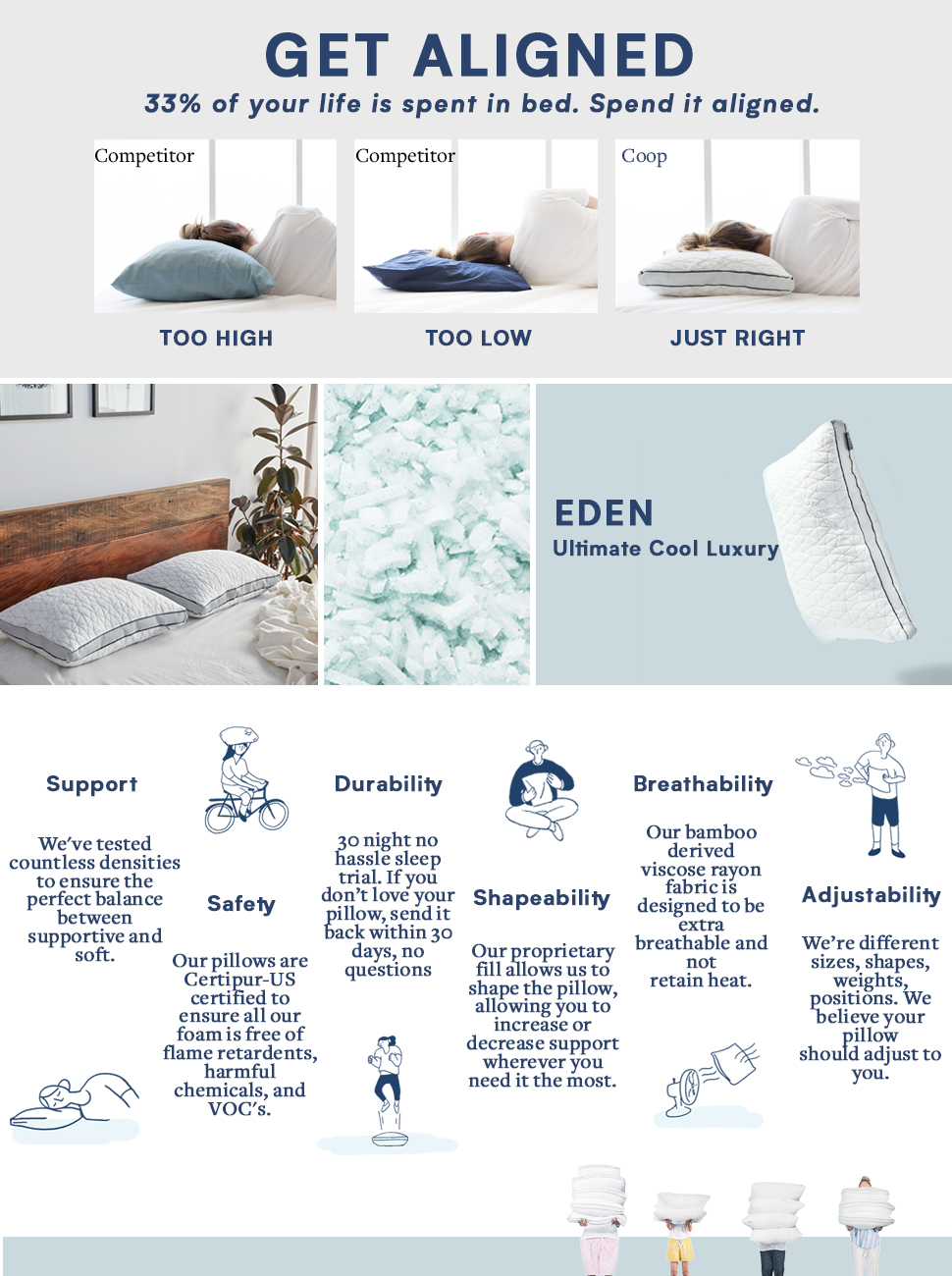 coop home goods eden shredded memory foam pillow with cooling zippered cover and. Black Bedroom Furniture Sets. Home Design Ideas