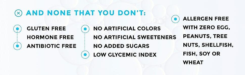 gluten hormone antibiotic free no artificial colors sweeteners sugars egg peanut tree nut shellfish