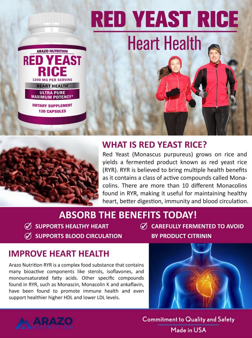 amazon com red yeast rice extract 1200 mg citrinin free