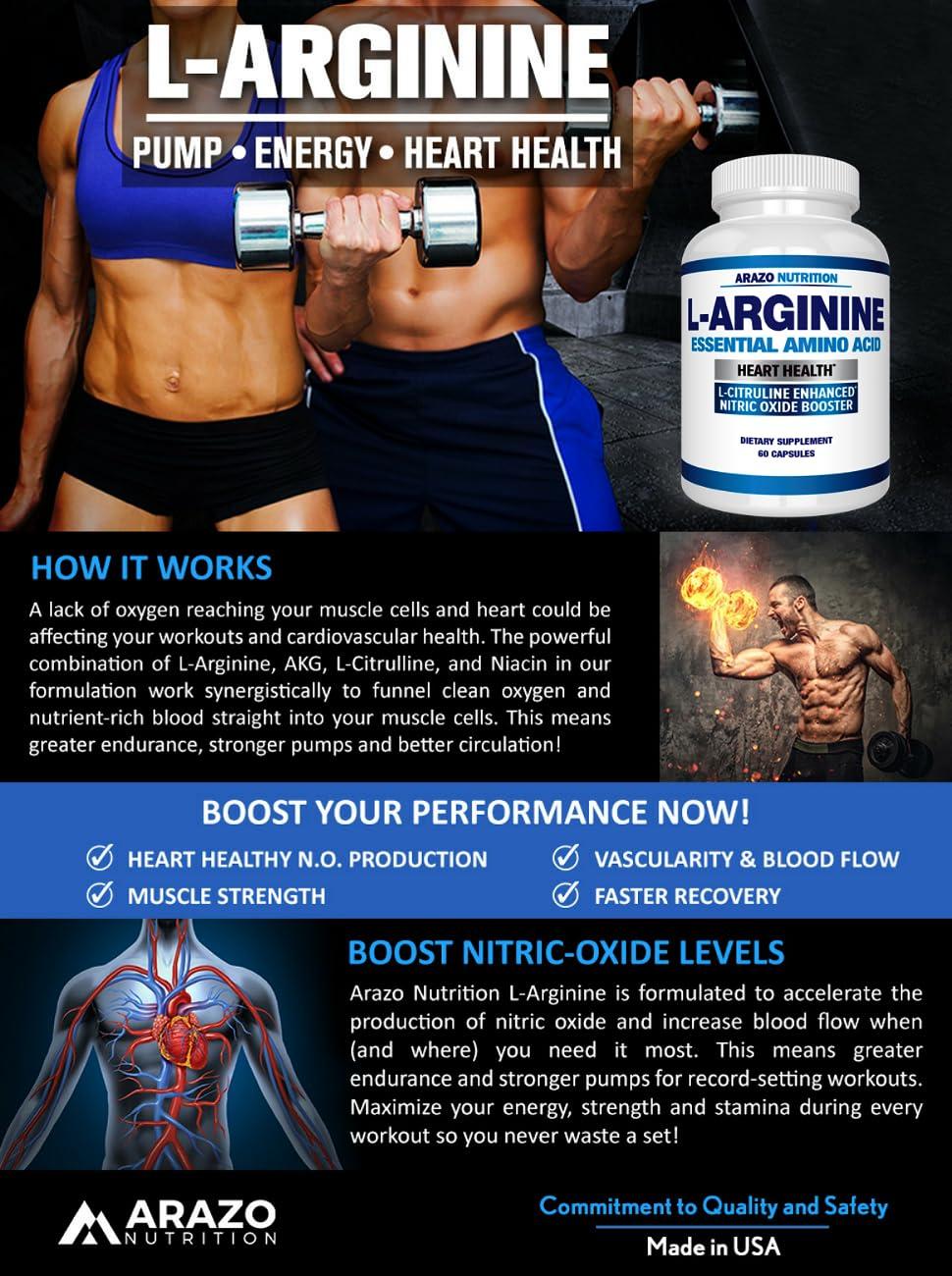 Premium L Arginine - 1340mg Nitric Oxide Booster with L-Citrulline &  Essential Amino Acids for Heart
