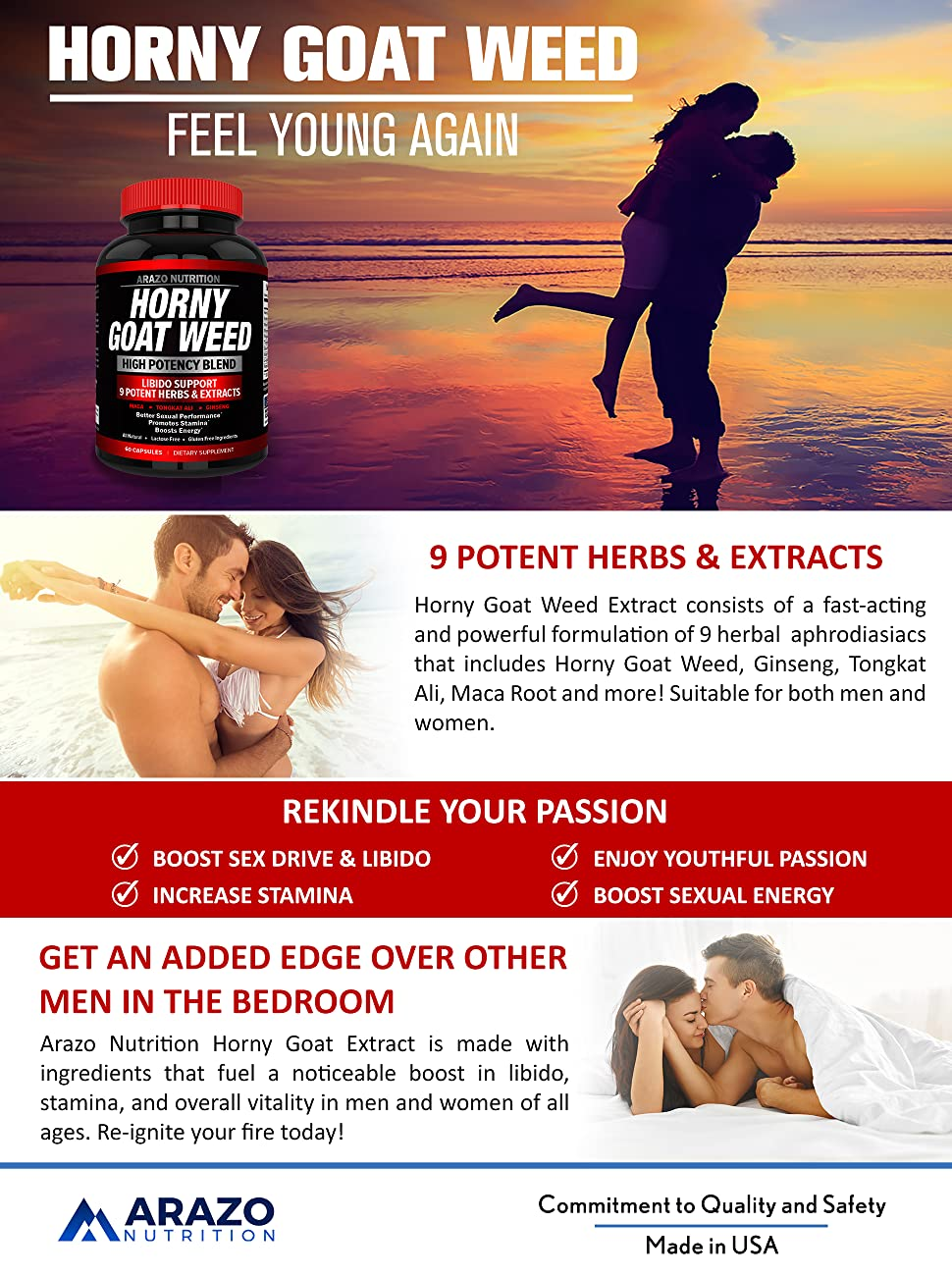 PREMIUM Horny Goat Weed Extract with Maca Root, Ginseng, Muira Puama and  L-Arginine - For Men and Women - 100% Pure Herbal Nutritional Supplement -
