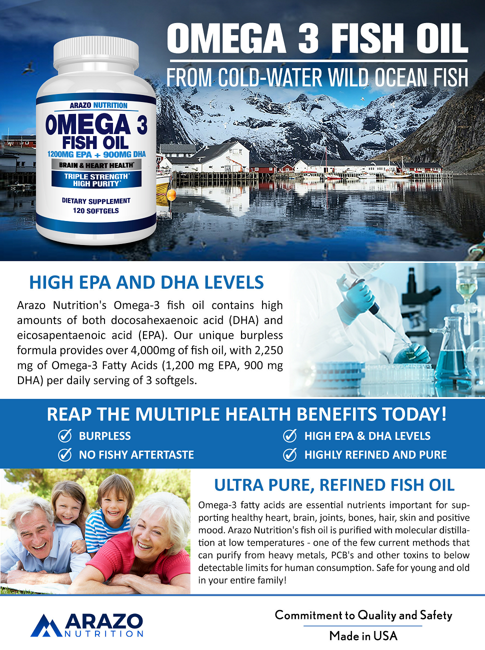 Omega 3 Fish Oil 2250mg | HIGH EPA 1200MG + DHA 900MG Triple Strength Burpless Capsules