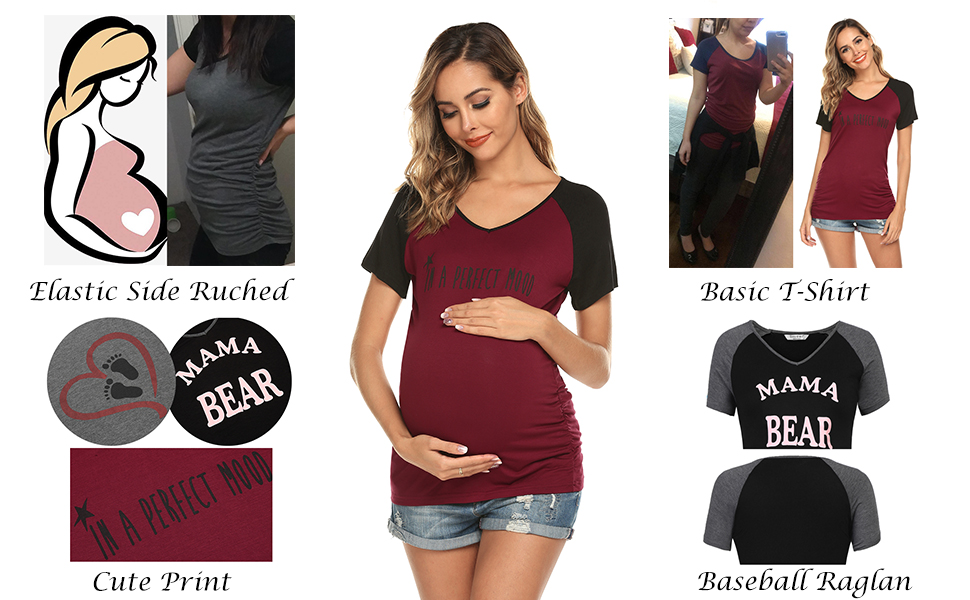 4b1565687d533 Ekouaer Womens Maternity T Shirts Funny Print Baseball Raglan Side Ruched  Pregnancy Shirt for Expecting Mothers