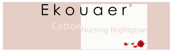 Ekouaer Women's Maternity Dress Short Sleeve Nursing Nightgown for Breastfeeding Sleepwear