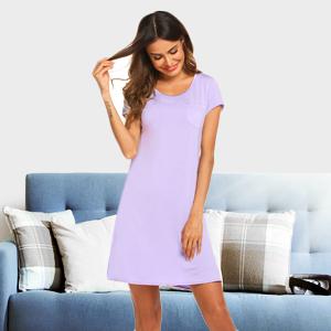 Nightgown for Women V Neck Short Sleeve Nightshirt Cotton Knit Sleepwear