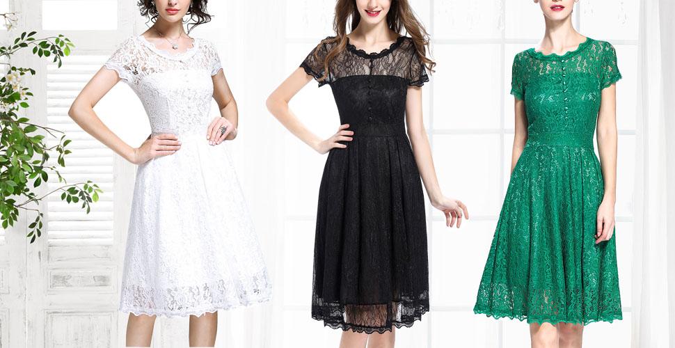 6c78dbfe5af IHOT Women s Vintage Floral Lace Cap Sleeve Retro Swing Elegant Bridesmaid  Dress