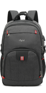 17.3 inch large laptop backpack for school travel business work Gray