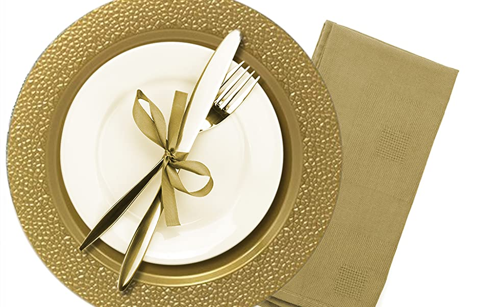 Amazon Com Tiger Chef 50 Pack 13 Inch Round Gold Hammered Plastic Charger Plates Disposable Set Of 2 4 6 12 Or 24 For Parties Wedding And Special Events Charger Service Plates