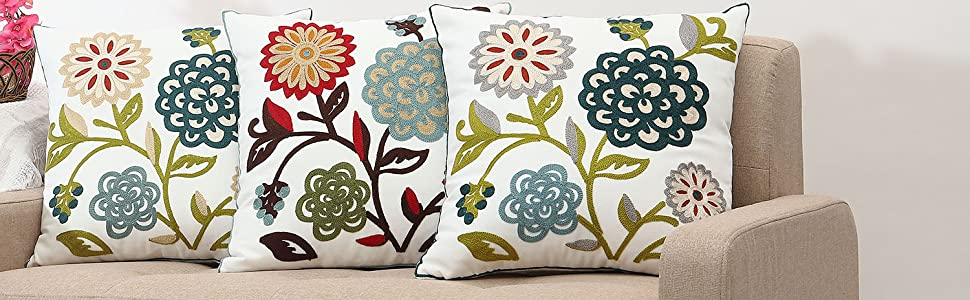 Decorative throw pillow case cover embroidery