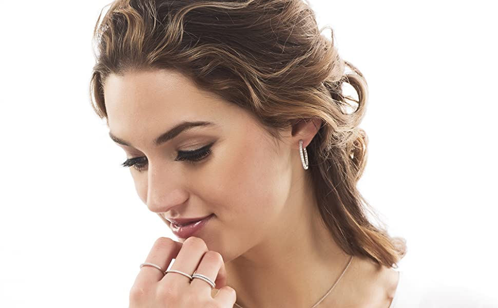 """BERRICLE Rhodium Plated Sterling Silver Cubic Zirconia CZ Inside-Out Hoop Earrings 1"""""""