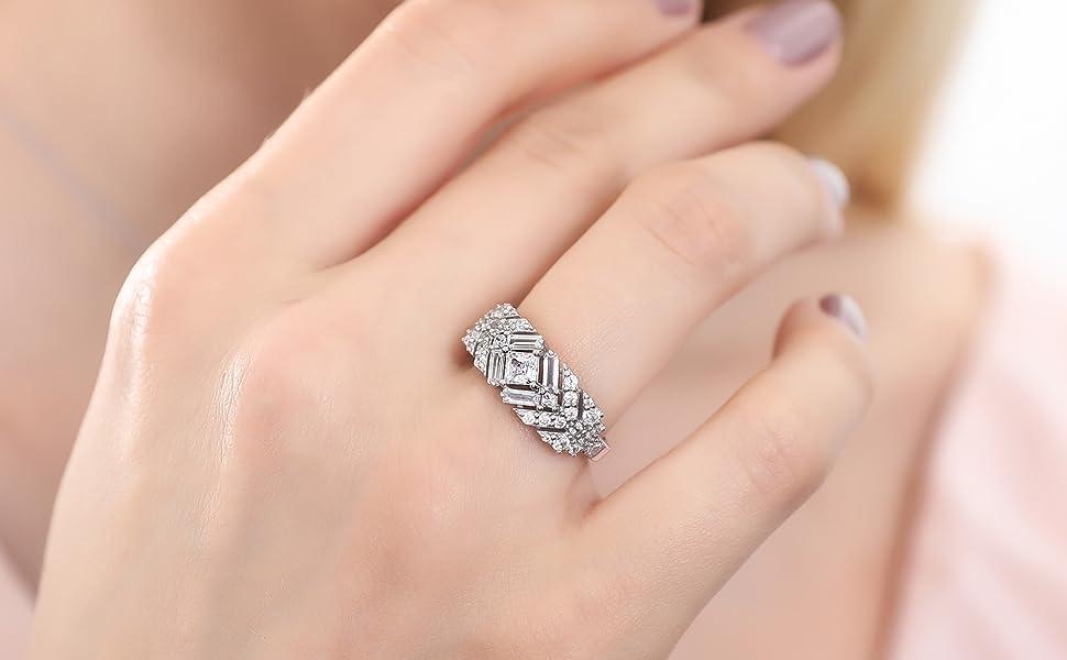 BERRICLE Rhodium Plated Silver Princess Cut Cubic Zirconia CZ Art Deco Bar Fashion Ring