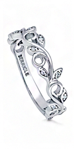 925 Sterling Silver Rodium Plated Amazing Locust Leaf women/'s ring with Cubic zerconia