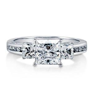 3-stone princess rings