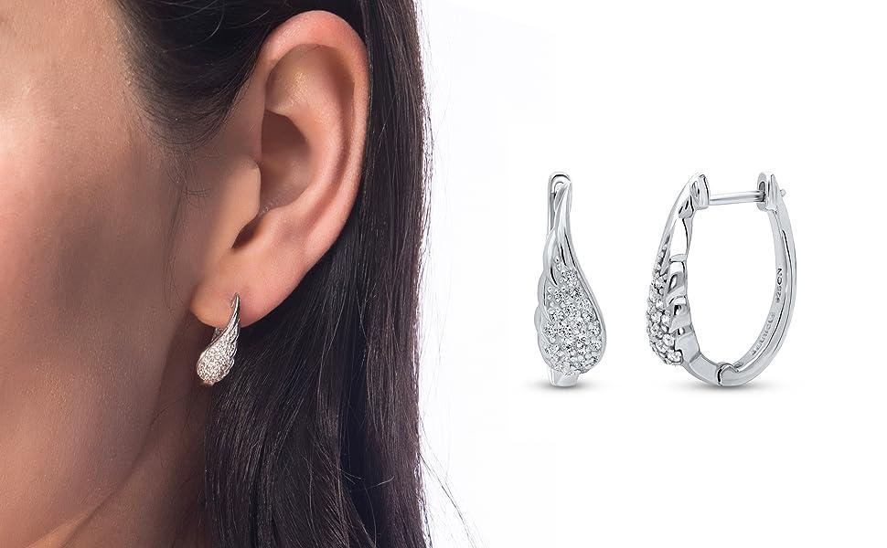 """BERRICLE Rhodium Plated Sterling Silver Cubic Zirconia CZ Angel Wings Oval Hoop Earrings 0.8"""""""