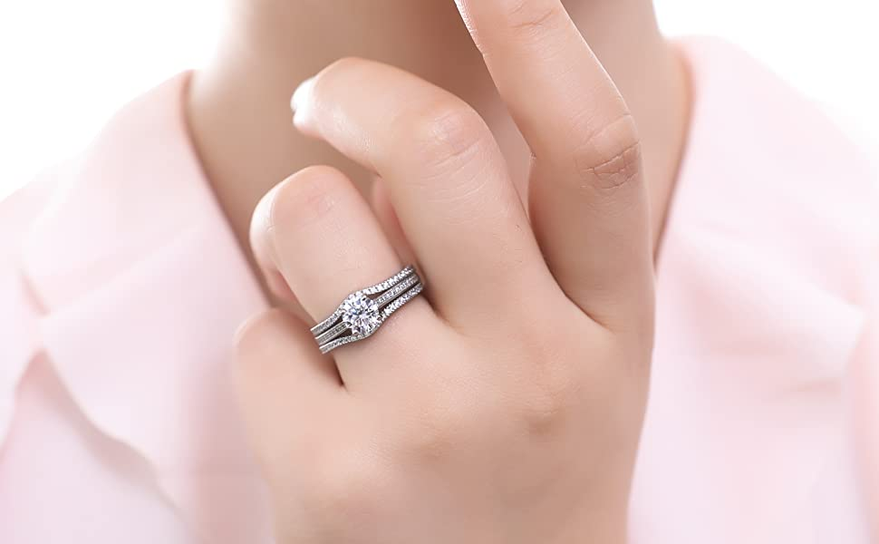 BERRICLE Rhodium Plated Silver Cubic Zirconia CZ Solitaire Engagement Stackable Ring Set 1.45 CTW