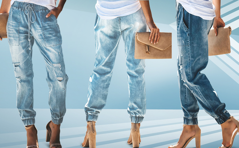 Amazon.com: GOSOPIN - Pantalones vaqueros con cordón ...