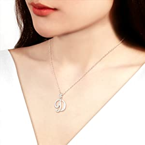 Sterling Silver Initial Alphabet Letters Personalized Pendant Necklace