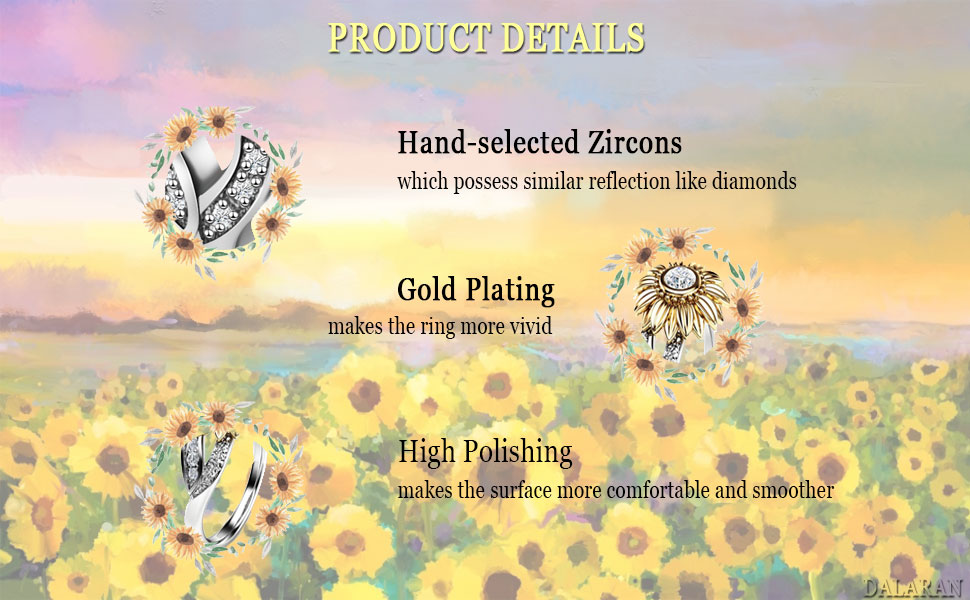 a07f3dbc7bf6e DALARAN Sunflower Cubic Zirconia Ring with Side Stone Copper Leaf Eternity  Band for Women