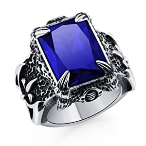 DALARAN Stainless Steel Rings for Men Boys Cool Dragon Claw Ring Mens Gothic Crystal Band Muti-Color