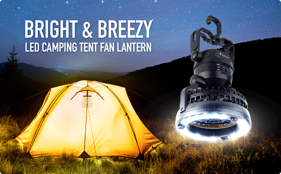 Haitral 2in1 Portable Led Camping Lantern With Ceiling Fan 18 Led