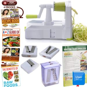 Brieftons 5-blade spiralizer package content