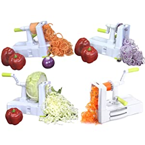 Brieftons 5 blade spiralizer with different types of cuts