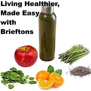 Brieftons Glass Bottles make living healthy easier