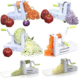 Brieftons 7-blade spiralizer different cuts in action