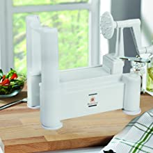 Brieftons 5 blade spiralizer secure on counter top