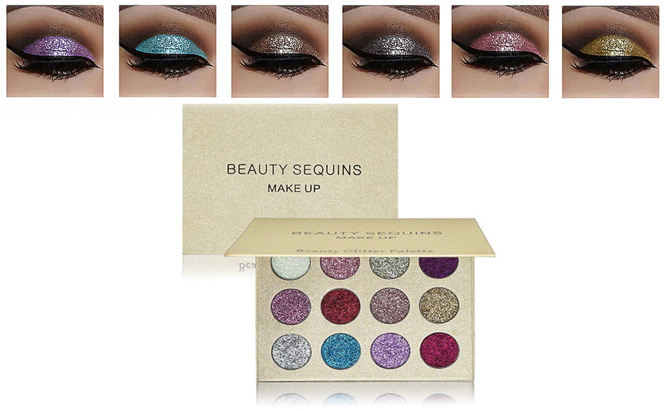 Amazon.com   BEAUTY SEQUINS 12 Shades Pigmented Eyeshadow Palette ... 9248d0c3cd47