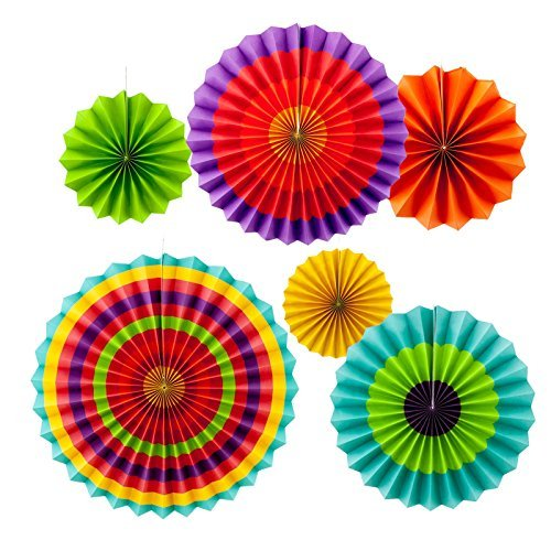 Amazon Com Adorox Set Of 6 Vibrant Bright Colors Hanging Paper Fans