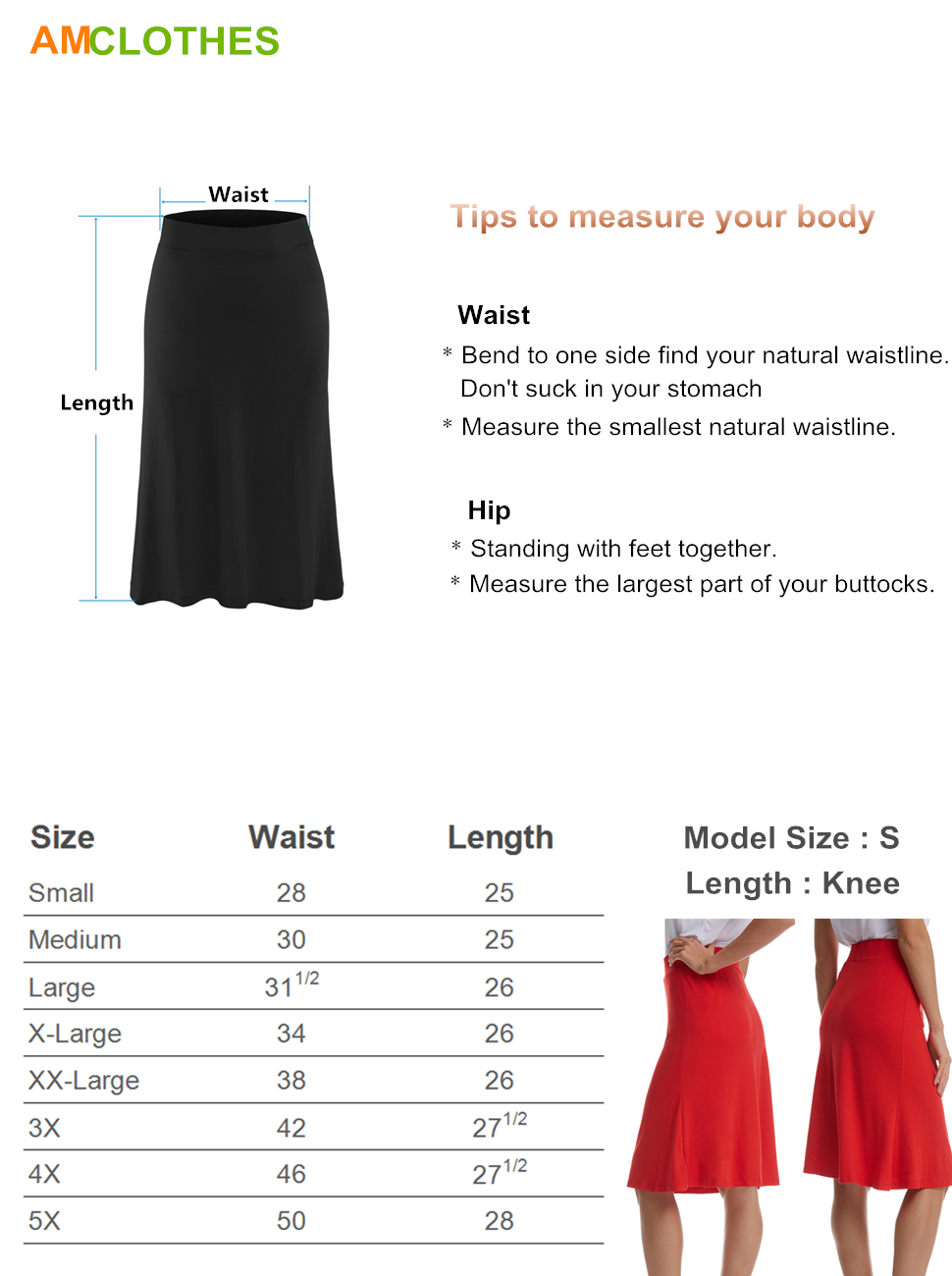 5fe89ab79 Skirt Type: Midi Skirt Skirt Length: Above Knee Length Fabric: 95% Rayon/5%  Spandex, Not See Through, Stretchy and Comfy Pattern Type: Solid Colored