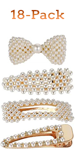 18pcs Fashion Sweet Artificial Pearl Hair Clips Geometric Barrette Decorative Bobby Pins Hair Pins