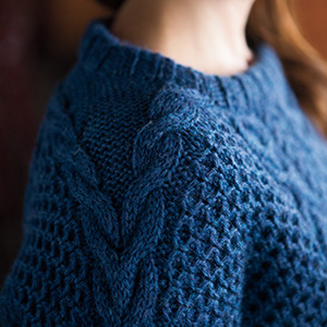 Knit Picks Wool of the Andes Yarn Worsted Medium Cable Sweater Pullover Jumper Lucky Gansey