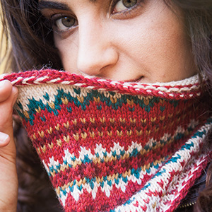Knit Picks Wool of the Andes Yarn Worsted Medium Fair Isle Stranded Colorwork Cowl Scarf