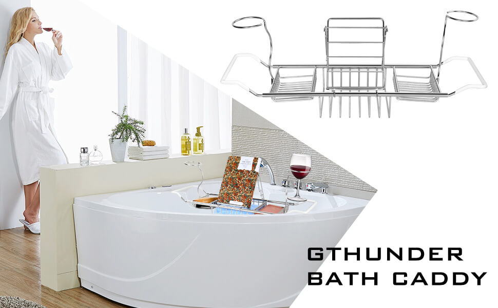Amazon.com: GTHUNDER Bath Caddy Over Bathtub Tray Stainless Steel ...